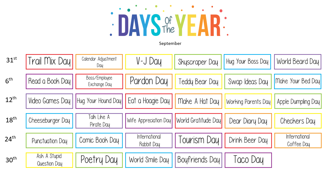 September Strange holidays! - Sam Simpson